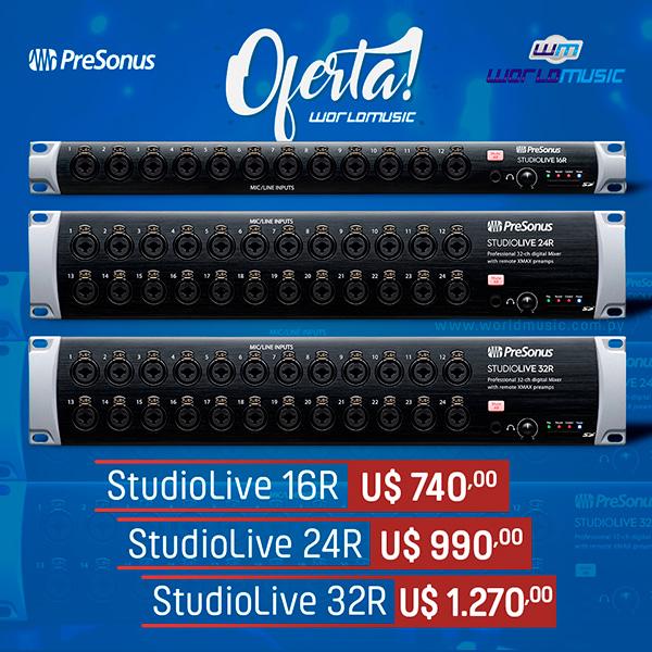 ✔ StudioLive 16R: U$ 740,00 ✔ StudioLive 24R: U$ 990,00 ✔ StudioLive 32R: U$ 1.270,00